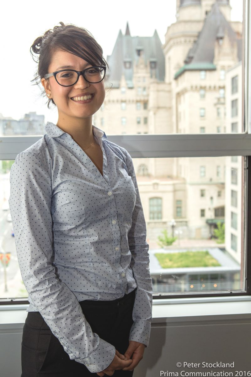 Thana Campos at the Cardus Ottawa office.